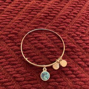Alex and Ani March birthstone silver bracelet